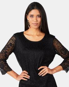 Queenspark Stretch Lace Core Knit Top Black