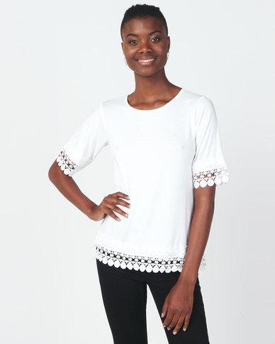 Queenspark Extravagant Lace Core Knit Top White