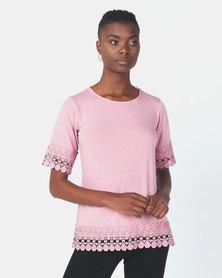 Queenspark Extravagant Lace Core Knit Top Pink