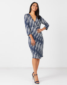 Queenspark Multi Spot Knit Dress Navy