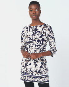 Queenspark Border Print Tunic Knit Top Navy