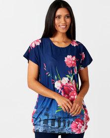 Queenspark Pretty Floral Knit Top Navy