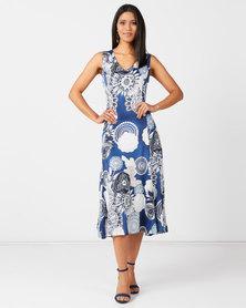 Queenspark Fancy Monotone Fit & Flare Knit Dress Blue
