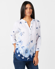 Queenspark Butterfly Print Ghost 3/4 Sleeve Woven Shirt White/Blue