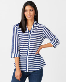 Queenspark Stripe 3/4 Sleeve Voile Woven Shirt Navy/White