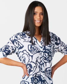 Queenspark Rose Design Ghost Button Through Woven Shirt Navy