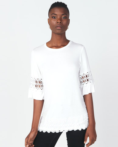 Queenspark Embroidered Core Crewneck Knit Top White