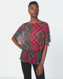 Queenspark Printed Short Sleeve Knit Top Multi