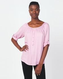 Queenspark 3/4 Sleeve Button Detail Woven Blouse Pink
