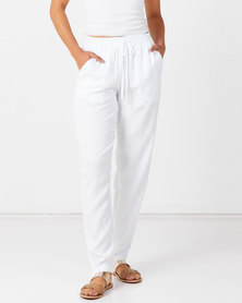Queenspark Tencil Woven Trousers White