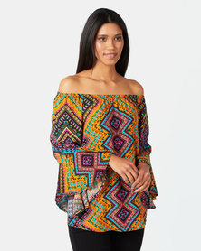 Queenspark Multicoloured Woven Marilyn Blouse Orange