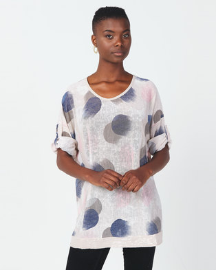 Queenspark Printed 3/4 Sleeve Knit Top With Roll Up Sleeve Stone