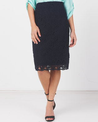 Queenspark Guipure Lace Woven Skirt Navy
