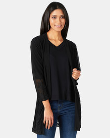 Queenspark Cornelli Trim Glam Mesh Jacket Black