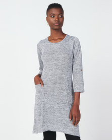 Queenspark Private Label Pocket Detail Tunic Knit Top Grey