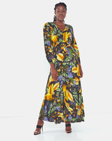 cath.nic By Queenspark Leaf Print Woven Dress Black