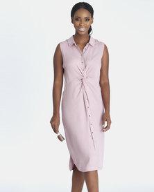 Contempo Pink Twist Detail Sleeveless Dress
