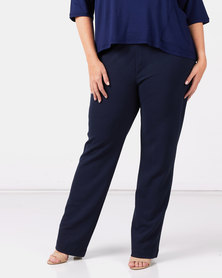 Queenspark Plus Collection Zip Trim Pull On Knit Pants Navy