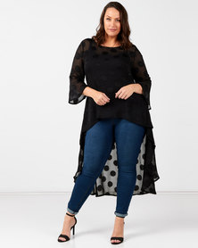 Queenspark Plus Collection Spot Burnout Hi Low Glamour Woven Blouse Black