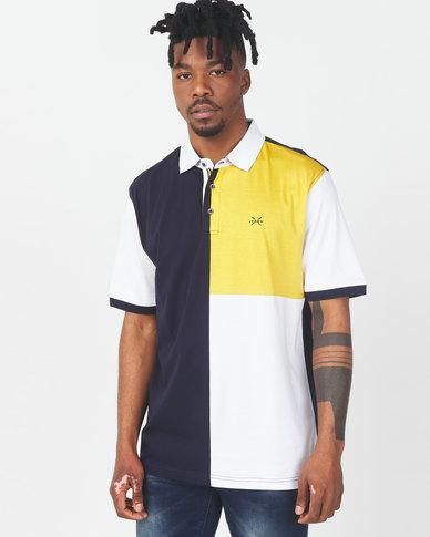 JCrew Colour Blocked Mercerize Golfer Yellow
