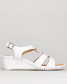 Butterfly Feet Montague Wedges White