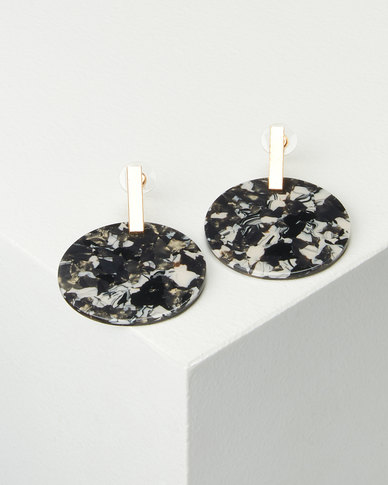 Lily & Rose Black White Speckled Round Resin Earrings