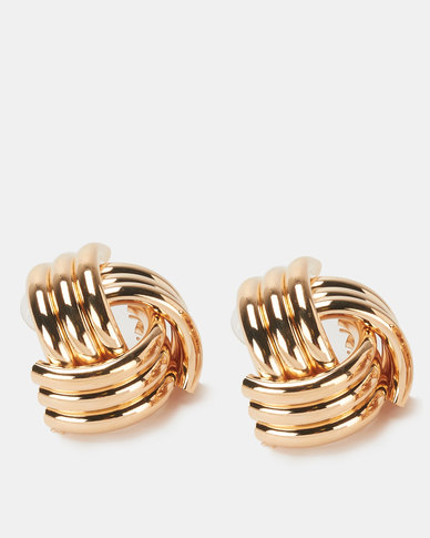 Lily & Rose Gold Weave Knot Stud Earrings