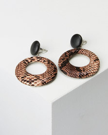 Lily & Rose Snake Print Circle Earrings Brown/Black