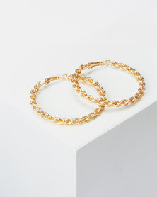 Lily & Rose 50mm Twisty Hoop Earrings Gold