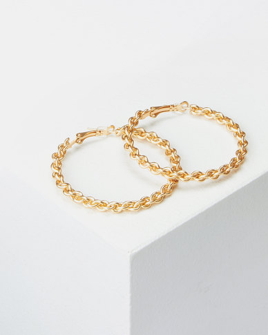 Lily & Rose 50mm Twisty Hoop Earrings Gold