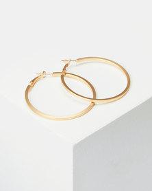 Lily & Rose 50mm Flat Hoop Earrings Matte Gold