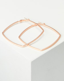 Lily & Rose 60mm Square Hoop Earrings Rose Gold