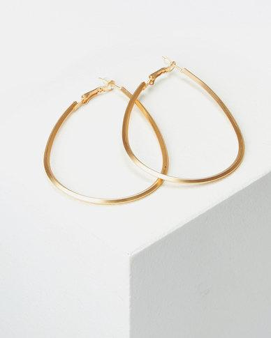 Lily & Rose 70mm Teardrop Hoop Earrings Gold