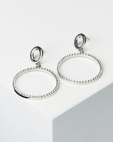 Lily & Rose Clear Diamante Circle Earrings