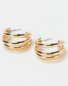 Lily & Rose 2 Row Half Hoop Earrings Gold-tone
