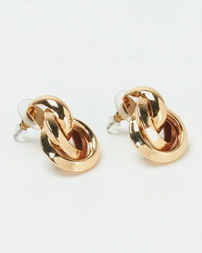 Lily & Rose  Entwined Circle Earrings Gold