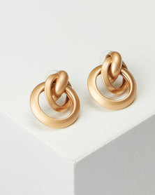 Lily & Rose Matt Gold Knotted Circle Earrings