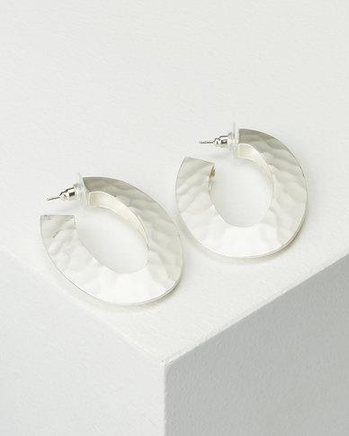 Lily & Rose Hammered Metal Hoop Earrings White