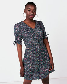 Utopia Ditsy Print Flirty Dress Blue