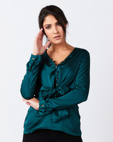 Utopia Textured Tie Front Top Green