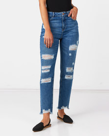 Sissy Boy Med Vintage Look Out High Rise Mom Jeans With Rips Blue