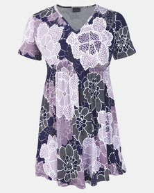 Cherry Melon Monochrome Waterlily Underbust Smock Detail Top Short Sleeve Purple/Navy