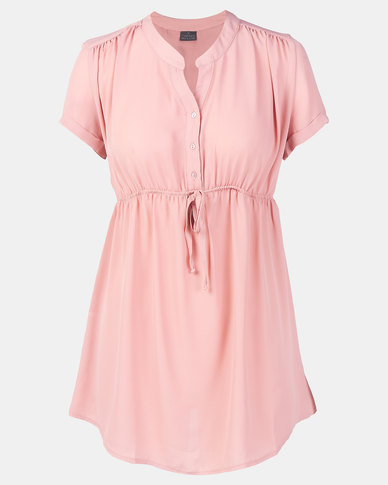 Cherry Melon Woven Mandarin Shirt Cap Sleeve Blush
