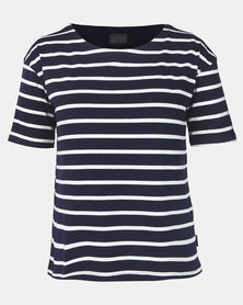Cherry Melon Stripe Feeding T-Shirt Short Sleeve Navy/White