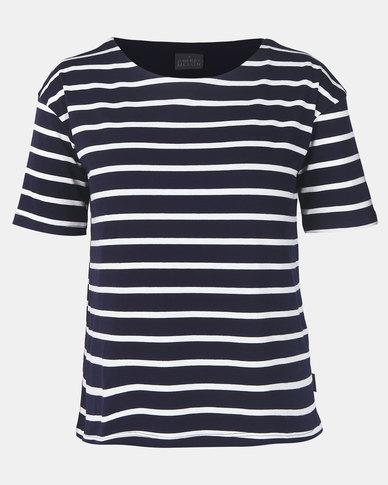 Cherry Melon Stripe Feeding T-Shirt Short Sleeve Navy/White