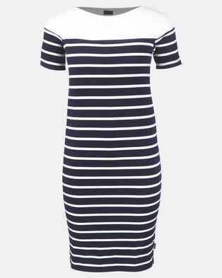 Cherry Melon Stripe Boatneck Contrast Dress Short Sleeve Navy/White