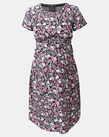 Cherry Melon Ditsy Blossom Woven Short Sleeve T-Shirt Dress Pink