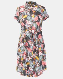 Cherry Melon Malibu Floral Midi Shirt Dress Multi