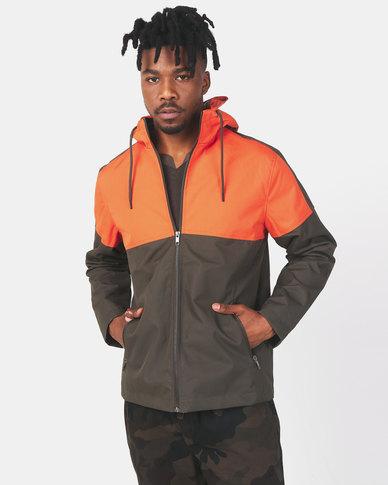 Brave Soul Colour Block Lightweight Hooded Jacket Orange/Khaki