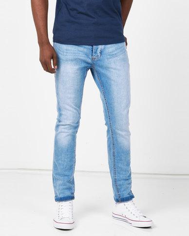 Brave Soul Charcoal Sandblasted Skinny Fit Denim Jeans Blue